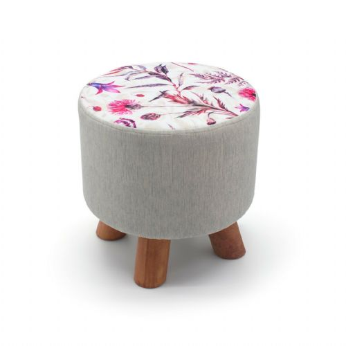 ROUND OTTOMAN FOOTSTOOL FOOTREST POUFFE PADDED CHAIR SEAT STOOL - TROPICAL WILD FLOWERS 28 x 28cm